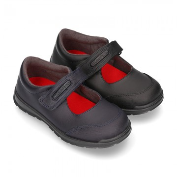 School shoes Mary Jane style with hook and loop strap in washable leather.
