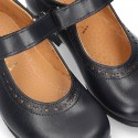 New School Classic Nappa leather little Mary Jane shoes with chopped design and velcro strap.