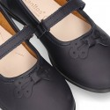 School shoes Mary Jane style with velcro strap and bow in washable leather for girls.