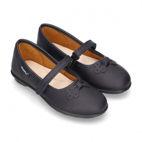 School shoes Mary Jane style with hook and loop strap and bow in washable leather for girls.
