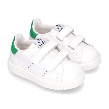 Casual kids washable Nappa leather laceless.