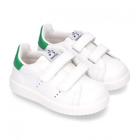 Zapatilla niños Moda sin cordones en piel.