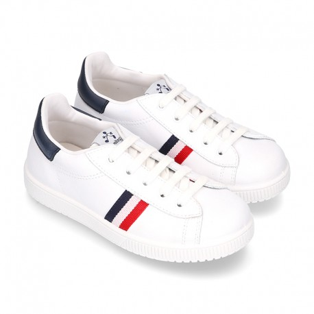 New Casual washable leather tennis shoes with flag design.