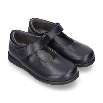 Classic Mary Jane school shoes with velcro strap in leather.