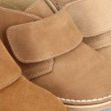 Suede Leather Safari boots with VELCRO strap.