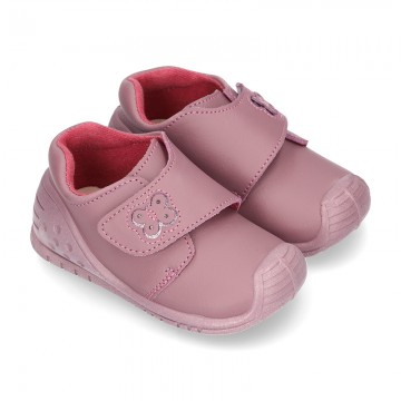 New Washable leather bootie shoes with velcro strap and reinforced toe cap and counter for first steps.