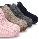 Wool knit ankle home shoes laceless.