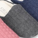 New structured wool knit home shoes with opened shape.