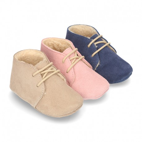 New Soft Suede leather safari boots for baby with wool knit lining.