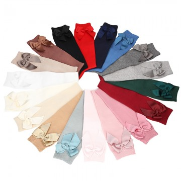 CHILDREN´S COTTON KNEE-HIGH SOCKS WITH GROSGRAIN SIDE BOW BY CONDOR.