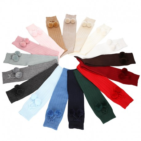 CHILDREN´S COTTON KNEE-HIGH SOCKS WITH POMPONS BY CONDOR.