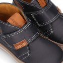 Ankle boot shoes tennis style with velcro strap in NAPPA leather.