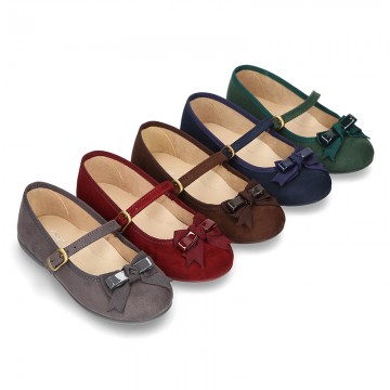 Autumn winter canvas little Mary Jane shoes with buckle fastening and ribbon with patent finished.