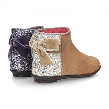New Ankle boot shoes with GLITTER counter and Velvet tie in suede leather.
