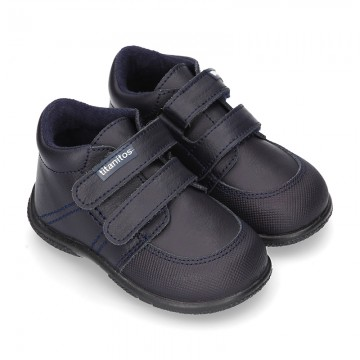 New Washable Nappa leather shoes tennis style with double velcro strap for little kids.