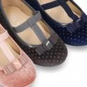 Autumn winter Velvet little T-strap Mary jane shoes with SHINY design.
