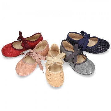 Autumn winter canvas Ballet flat shoes Angel style with shiny effects.