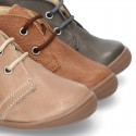 Little ankle boots in tanned nappa leather for kids.