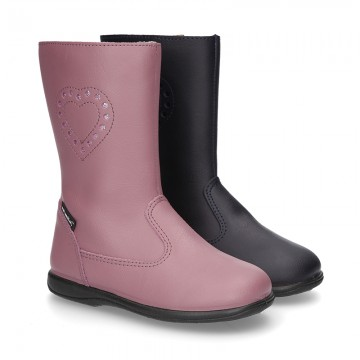 New washable leather boot shoes with zipper closure and heart design.