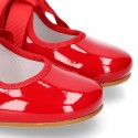 Ballet flat or little Mary Jane shoes Angel style in RED patent leather.