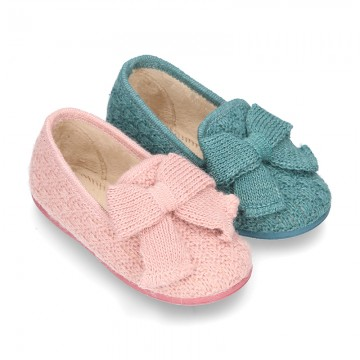 New Wool knit home shoes with RIBBON design.