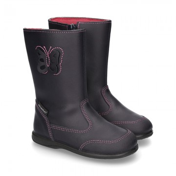 New washable leather boot shoes with zipper closure, reinforced toe cap and BUTTERFLY design.