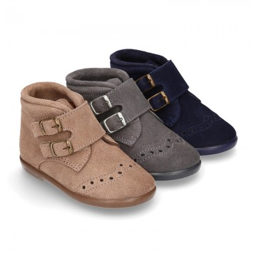 New Classic suede leather little bootie Oxford style with velcro strap and chopped design.