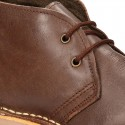 Classic Safari boots with faux fur lining in tanned nappa leather.