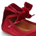 New Stylized velvet canvas little Mary Jane shoes with ribbon tied to the ankle.