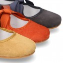 New SOFT SUEDE leather little Mary Jane shoes angel style in fall colors.