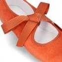 Mercedita o Bailarina tipo Angelito con lazo piel suave ante en colores Otoño.