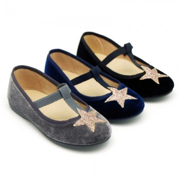 VELVET canvas T-strap Mary Janes with STARS design.