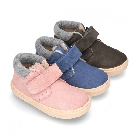 New Ankle boot shoes tennis style with FAKE HAIR lining and velcro strap in suede leather.