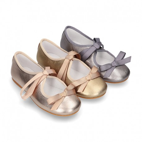 New Little Angel style ballet flat shoes with ribbon in metal finish leather.
