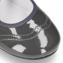 Patent leather Angle style ballet flat or Mary Jane shoes.