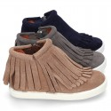 New Sneaker style ankle boots with fringed design in suede leather.