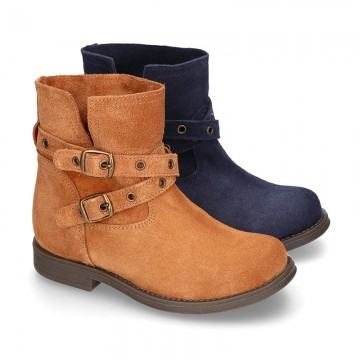 Suede leather ankle boots countryside style with buckles design.