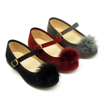 New Autumn winter canvas little Mary Jane shoes with POMPONS design.