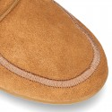 Little Ankle boot shoes Wallabee style in suede leather.