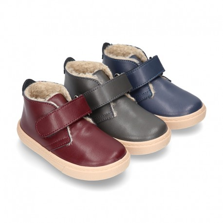 New Ankle boot shoes tennis style with FAKE HAIR lining and velcro strap in nappa leather.