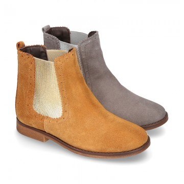 Suede leather ankle boots countryside style with metal elastic band.