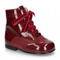 New combined Pascuala style boots in suede and patent leather.