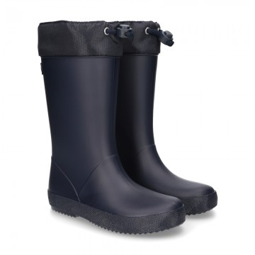 New School rain boot shoes FAKE HAIR lining with adjustable neck.