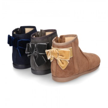 New Ankle boot shoes with VELVET BOW in Serratex autumn-winter canvas.