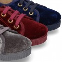 Casual BAMBA type shoes with in velvet canvas.