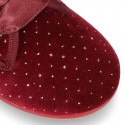 Velvet canvas Little laces up shoes with crystals design.
