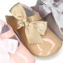 Soft Patent leather Little Mary Jane shoes for baby with ribbon.