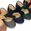 New Autumn winter canvas Mary Jane shoes with ties closure with Velvet big bow.