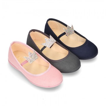 Special autumn winter canvas Ballet flat shoes with CROWN design.