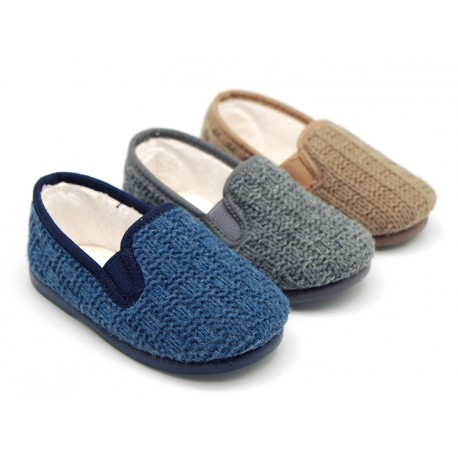 New structured wool knit Home shoes with elastics band.